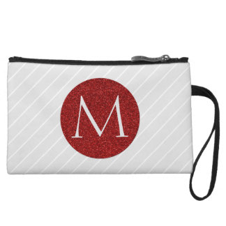 Gray/White Stripes and Faux Red Glitter Monogram Wristlet