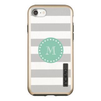 Gray White Stripes Pattern, Mint Green Monogram Incipio DualPro Shine iPhone 8/7 Case