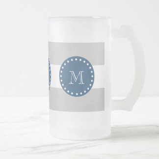 Gray White Stripes Pattern, Navy Blue Monogram Frosted Glass Beer Mug