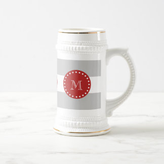 Gray White Stripes Pattern, Red Monogram 18 Oz Beer Stein