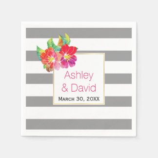 Gray, white stripes, watercolor flowers wedding paper napkins