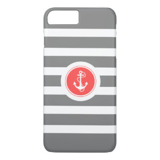 Gray & White Stripes With Nautical Anchor iPhone 7 Plus Case