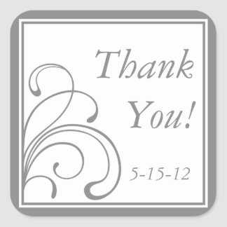 Gray & White Thank You Stickers and Favor Labels