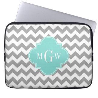 Gray Wht Chevron Aqua Quatrefoil 3 Monogram Laptop Sleeve