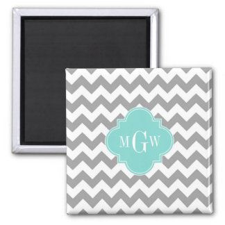 Gray Wht Chevron Aqua Quatrefoil 3 Monogram Square Magnet