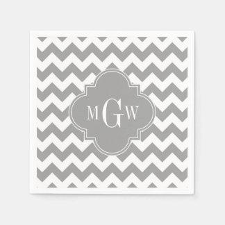 Gray Wht Chevron Dk Gray Quatrefoil 3 Monogram Disposable Napkins