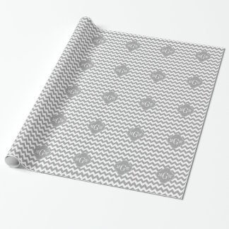 Gray Wht Chevron Dk Gray Quatrefoil 3 Monogram Wrapping Paper