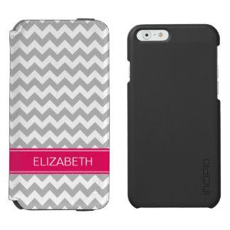 Gray Wht Chevron Zigzag 7P Raspberry Name Monogram Incipio Watson™ iPhone 6 Wallet Case