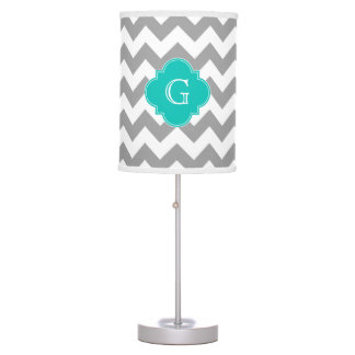 Gray Wht Chevron ZigZag Teal Quatrefoil Monogram Table Lamp