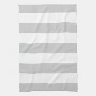 Gray Wide Stripe Hand Towels