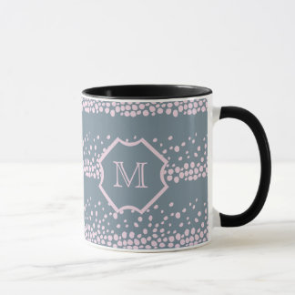 Gray with Delicate Pink Dots Monogram Mug