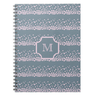 Gray with Delicate Pink Dots Pattern Monogram Notebook