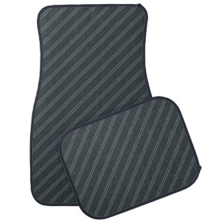 Gray with Double Pin Stripes Car Mat Full Set