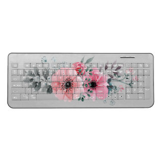Gray With Pink Watercolor Painted Flowers Wireless Keyboard