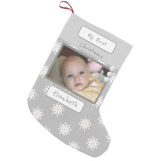 Gray with snowflakes My First Christmas photo Small Christmas Stocking