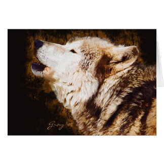Gray Wolf Baying Card