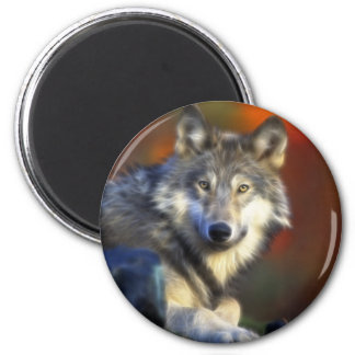 Gray Wolf, Endangered Species Digital Photography 2 Inch Round Magnet