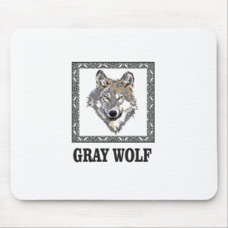 gray wolf framed mouse pad