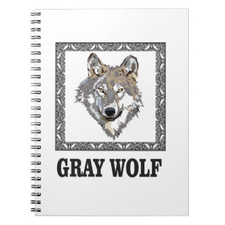 gray wolf framed notebook