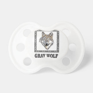 gray wolf framed pacifier