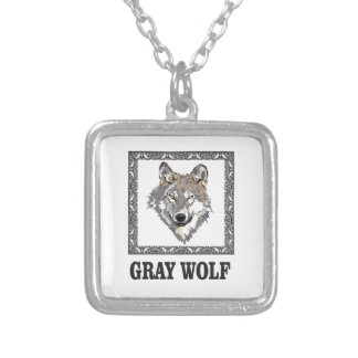 gray wolf framed silver plated necklace