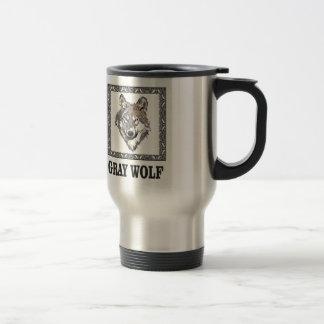 gray wolf framed travel mug