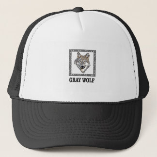 gray wolf framed trucker hat