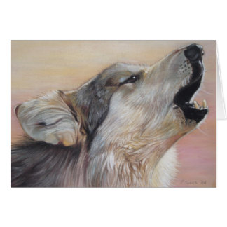 gray wolf howling wildlife painting realist art card