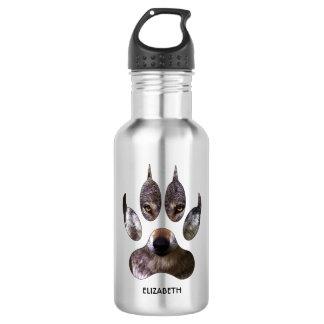 Gray Wolf Paw Predator Portrait Yellow Eyes Cool 532 Ml Water Bottle