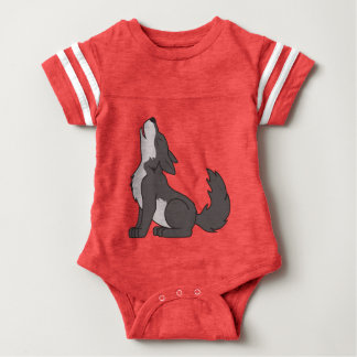 Gray Wolf Pup Howling Baby Bodysuit