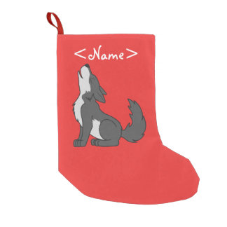 Gray Wolf Pup Howling Small Christmas Stocking