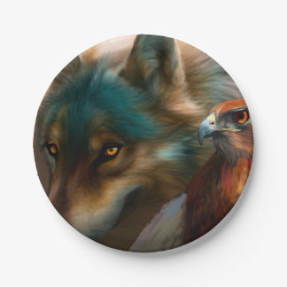 Gray wolf - red hawk - wolf art - indian wolf paper plate