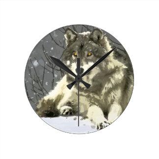 Gray Wolf Round Clock