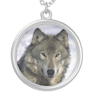 Gray Wolf  Silver Neckace Silver Plated Necklace