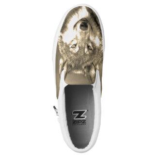 Gray Wolf Wild Slip On Sneakers