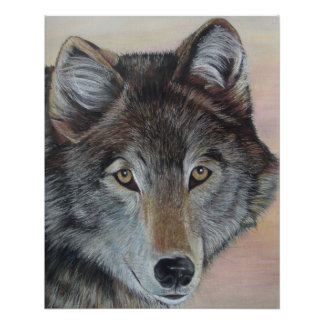 gray wolf wildlife painting realist portrait art perfect poster