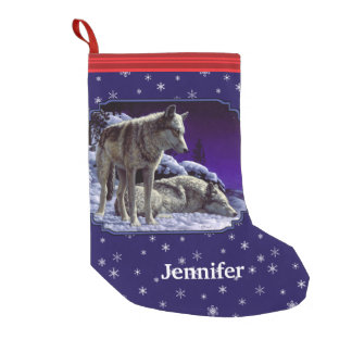 Gray Wolves and Winter Night Snowflakes Small Christmas Stocking