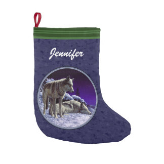 Gray Wolves in Snow Midnight Blue Small Christmas Stocking