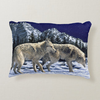 Gray Wolves in Snowy Winter Mountains Accent Pillow