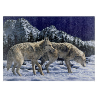 Gray Wolves in Snowy Winter Mountains Boards