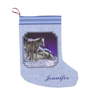 Gray Wolves in Winter Sky Blue Small Christmas Stocking