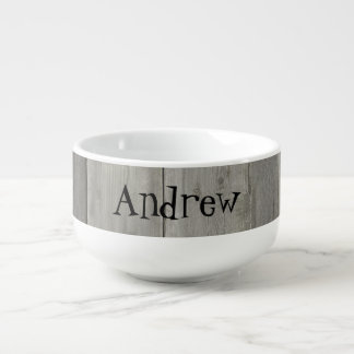 Gray Wood design Soup Mug