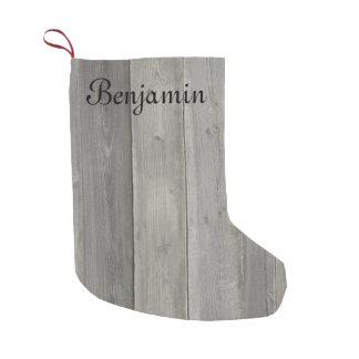 Gray Wood grain design Christmas Small Christmas Stocking