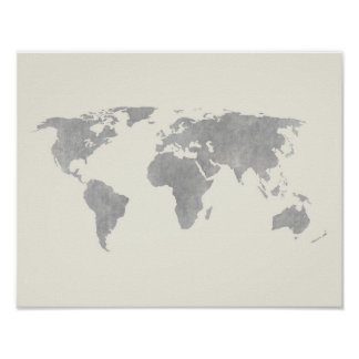Gray World Map on canvas background Poster