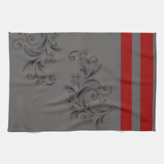 Gray x Red Kitchen Towel