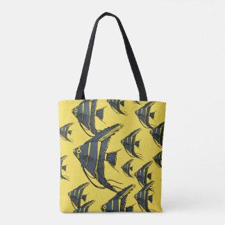 Gray & Yellow Angelfish Tote Bag