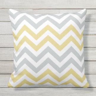 Gray Yellow Chevron Pattern Outdoor Pillow