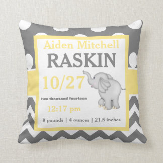 Gray Yellow Elephant Baby Announcement Pillow