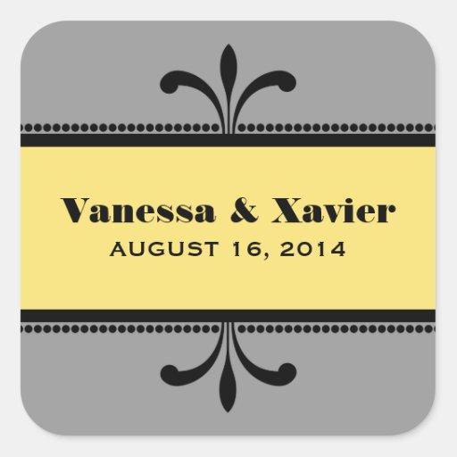 Gray/Yellow Fancy Art Deco Wedding Stickers