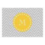 Gray & Yellow Modern Chevron Custom Monogram Business Card Template